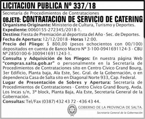Licitación: Licitacion Publica 337 SGG MCTD 2x6 ND