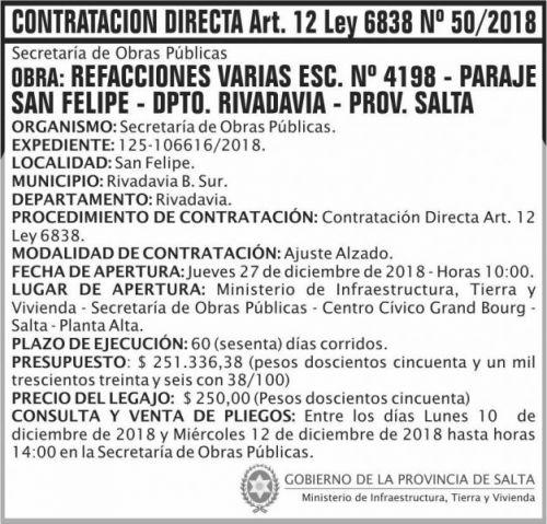 Licitación: Contratacion Directa 50 MITV 2x7 ND