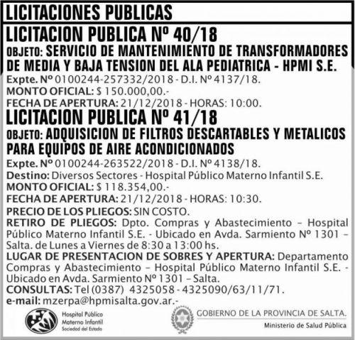 Licitación: Licitaciones Publicas 40 y 41 MSP HPMI 2x7 ND