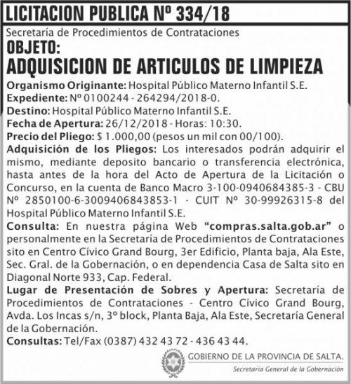 Licitación: Licitacion Publica 334 SGG HPMI 2x8 ND