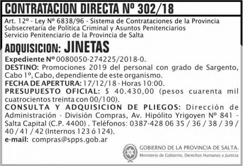 Licitación: Contratacion Directa 302 SPPS MDHJ 2x5 ND