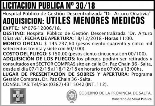 Licitación: Licitación Pública 30 MSP Oñativia 2x5 ND
