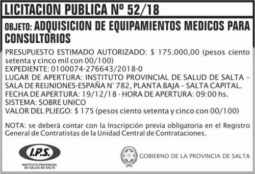 Licitación: 4 Licitacion Publica 52 IPS 2x5 ND