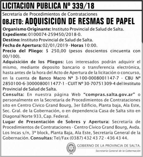 Licitación: Licitacion Publica 339 SGG IPS 2x8 ND