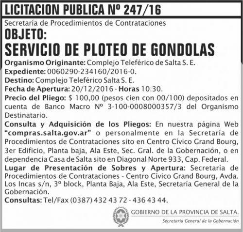 Licitación: Licitación Pública Nº 247