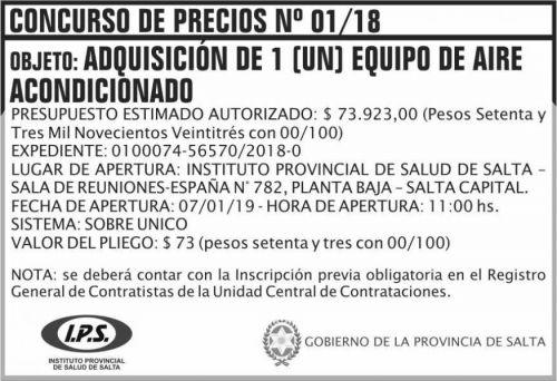 Licitación: Concurso de Precios 01 IPS 2x5 ND