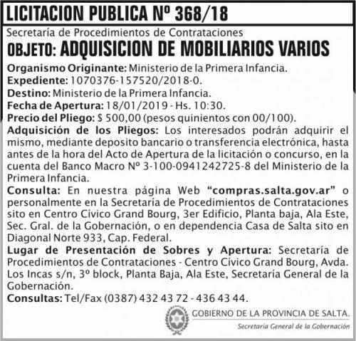 Licitación: Licitacion Publica 368 SGG MPI 2x7 ND