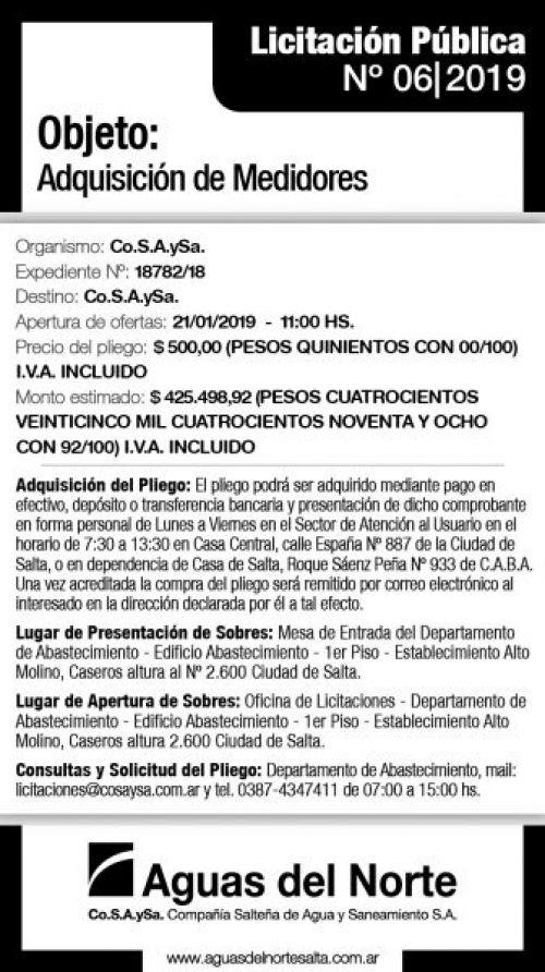 Licitación: AGUAS DEL NORTE 2X13