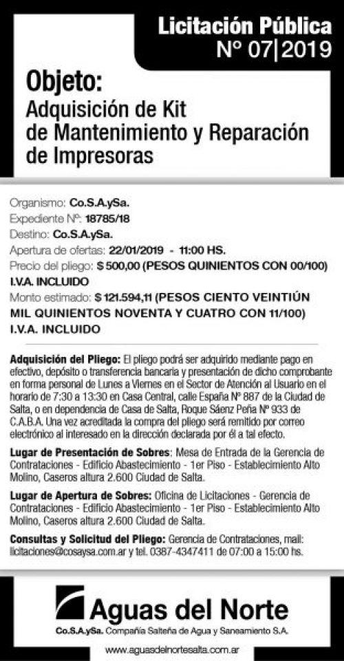 Edictos / Comunicados: AGUAS DEL NORTE 2X14