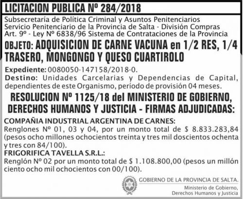 Licitación: Licitacion Publica Adjudicada 284 SPPS MDHJ 2x6 ND