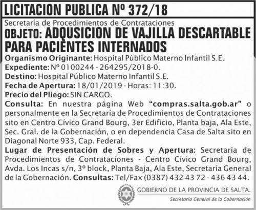 Licitación: Licitacion Publica 372 SGG HPMI 2x6 ND