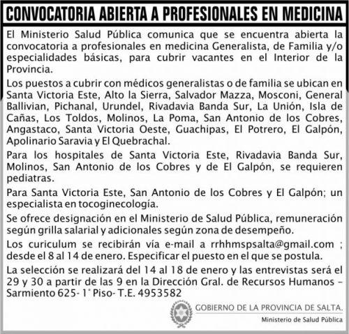 Licitación: CONVOCATORIA A PROFESIONALES EN  MEDICINA MSP 2x7 ND