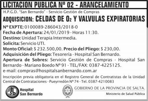 Licitación: Licitacion Publica 02 MSP SB 2x5 ND