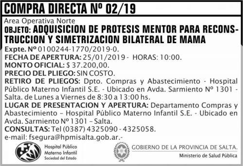 Licitación: Compra Directa 02 HPMI AON MSP 2x5 ND