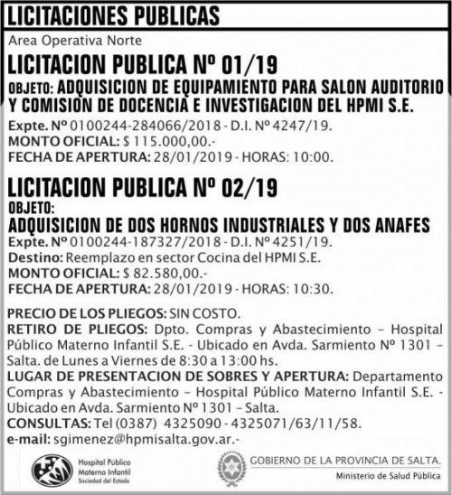 Licitación: Licitaciones Publicas 01 y 02 HPMI AON MSP 2x8 ND