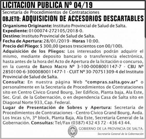 Licitación: Licitacion Publica 04 SGG IPS 2x7 ND