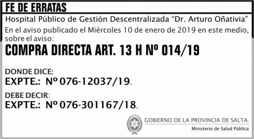 Licitación: FE DE ERRATA Compra Directa 14 MSP Oñativia 2x4 ND