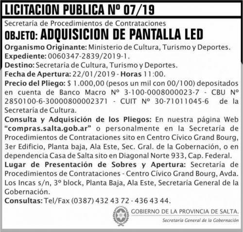 Licitación: Licitacion Publica 07 SGG MCTD 2x7 ND