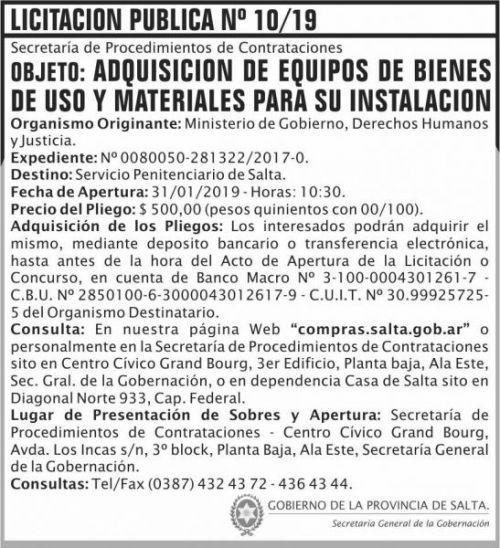 Licitación: Licitacion Publica 10 SGG MGDHJ SP  2x8 ND