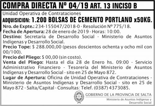 Licitación: Compra Directa 04 ART 13 B MAIDS 2x5 ND