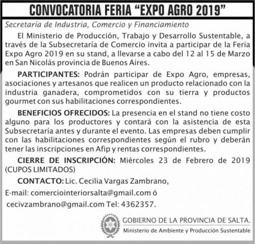 Licitación: Convocatoria FERIA Expo Agro 2019 MAPS 2x7 ND