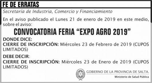 Licitación: FE DE ERRATA Convocatoria FERIA Expo Agro 2019 MAPS 2x4 ND
