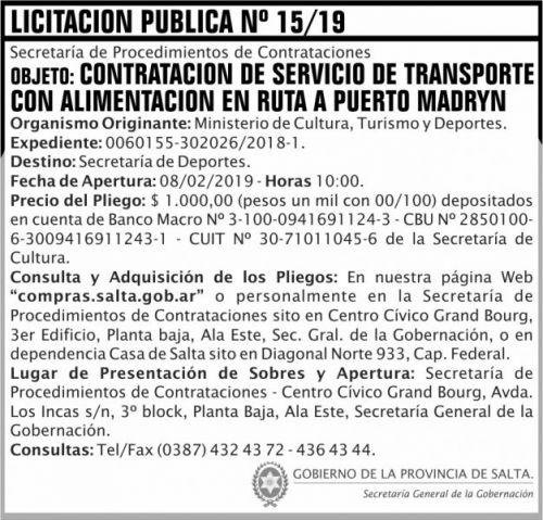 Licitación: Licitacion Publica 15 SGG MCTD 2x7 ND