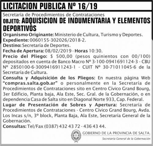 Licitación: Licitacion Publica 16 SGG MCTD 2x7 ND