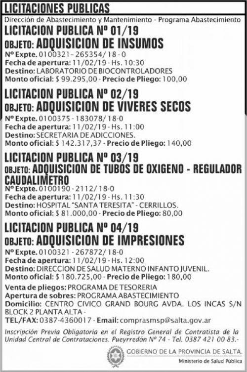 Licitación: Licitacion Publica 01 02 03 y 04 MSP 2x11 ND
