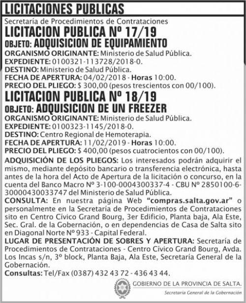 Licitación: Licitacion Publica 17 y 18 SGG MSP 2x9 ND