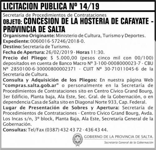 Licitación: Licitacion Publica 14 SGG MCTD 2x7 ND