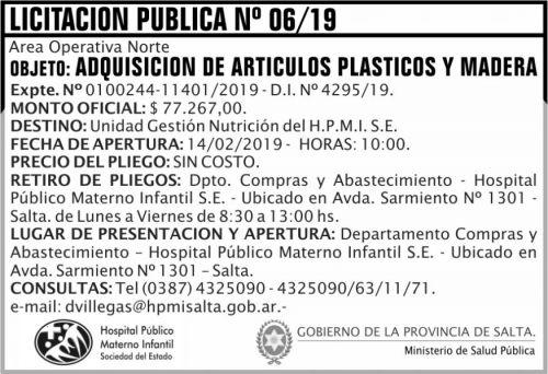 Licitación: Licitacion Publica 06 HPMI AON MSP 2x5 ND