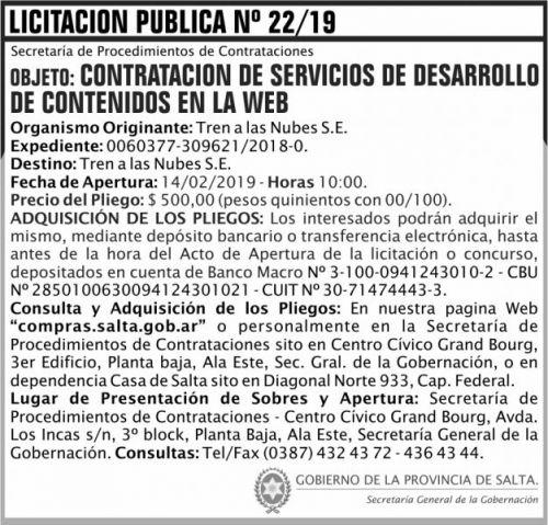 Licitación: Licitacion Publica 22 SGG TN 2x7 ND
