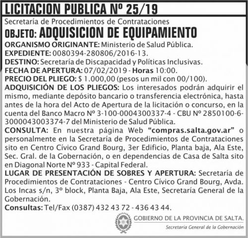 Licitación: Licitacion Publica 25 SGG MSP 2x7 ND
