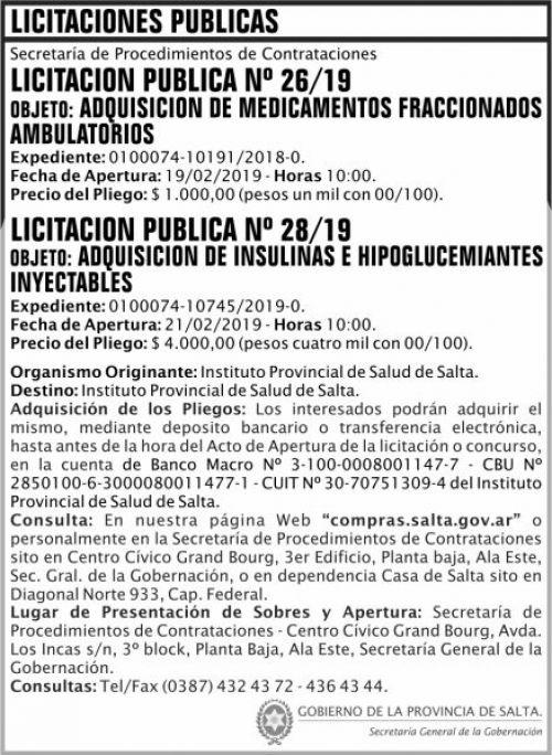 Licitación: Licitacion Publica 26 y 28 SGG IPS 2x10 ND