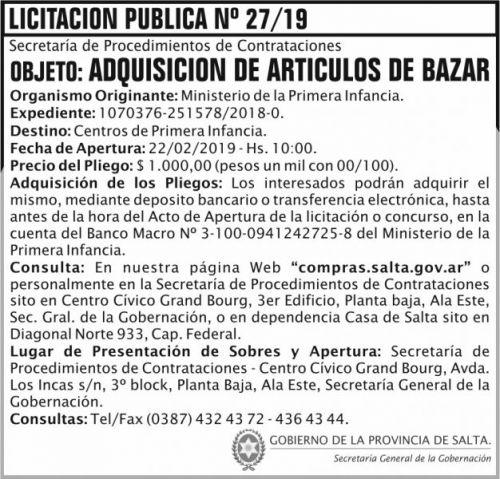 Licitación: Licitacion Publica 27 SGG MPI 2x7 ND