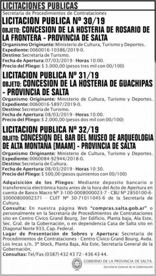 Licitación: Licitacion Publica 30, 31 y 32 SGG MCTD 2x13 ND