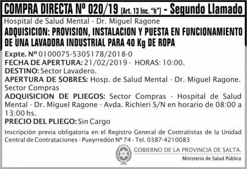Licitación: Compra Directa 02 HSM RAGONE MSP 2x5 ND