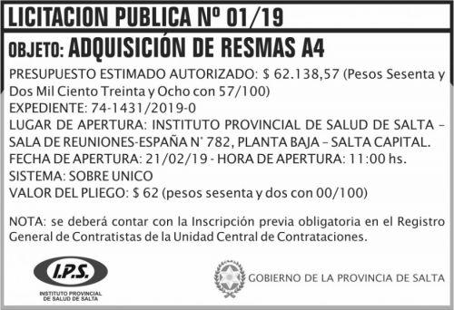 Licitación: Licitacion Publica 01 IPS 2x5 ND
