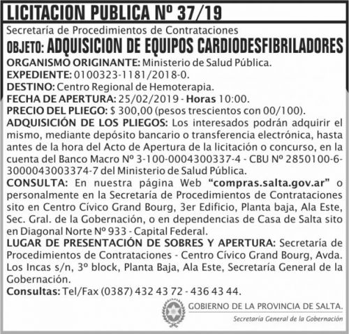 Licitación: Licitacion Publica 37 SGG MSP 2x7 ND