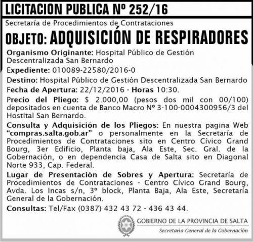 Licitación: LICITACIÓN PUBLICA 252