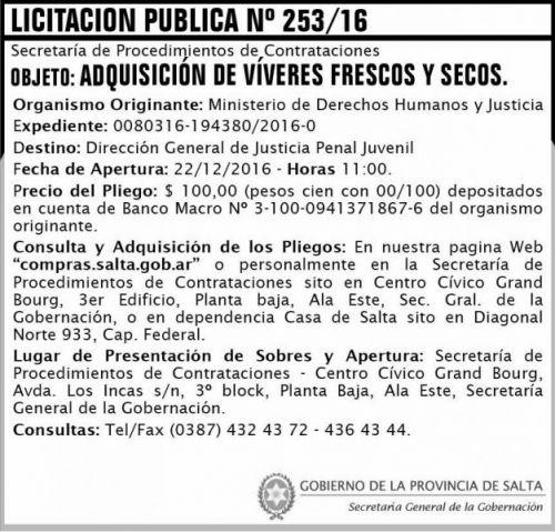 Licitación: LICITACIÓN PÚBLICA 253