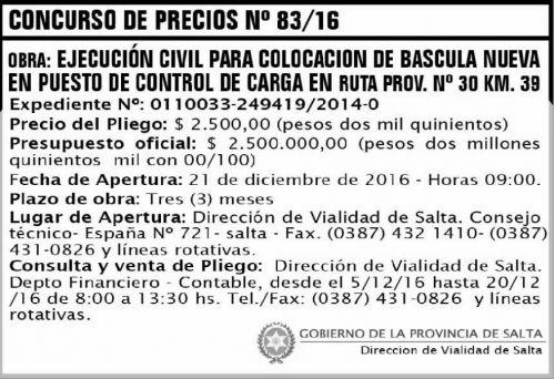 Licitación: CONCURSO DE PRECIOS 83