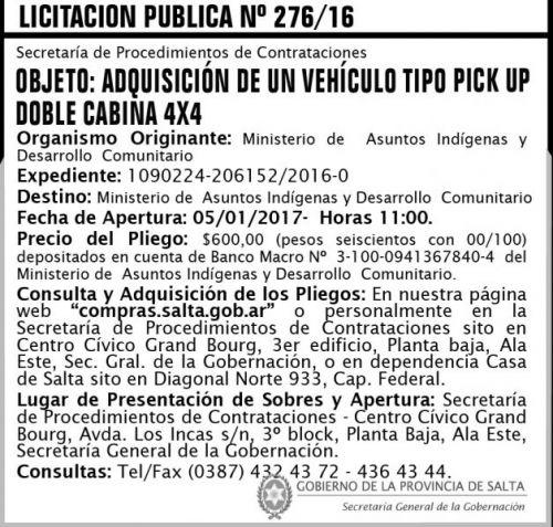 Licitación: Licitación Pública N° 276/16