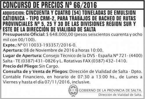 Concurso de Precios: Concurso de Precios Nº 66/2016
