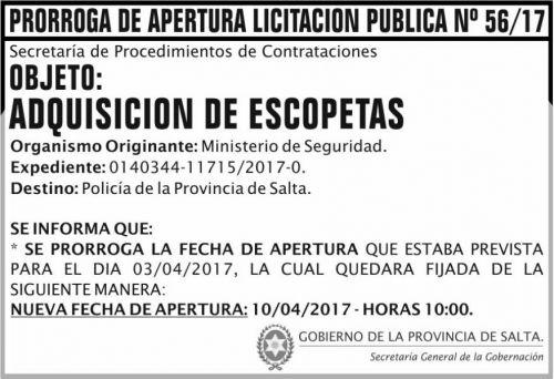 Licitación: PRORROGA Licitacion Publica 56/17 SGG MS