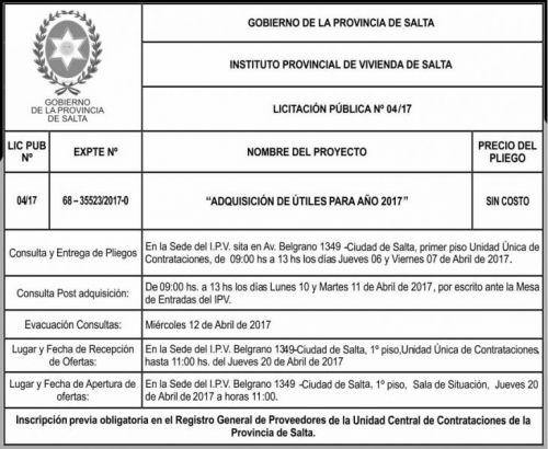 Licitación: Licitacion Publica 04/17 IPV