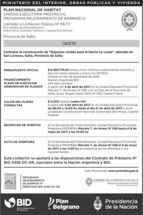 Licitación: LLAMADO A Licitacion Publica Nº 6/17 PROMEBA IV MHF
