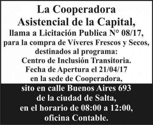 Licitación: Licitación Pública 08/17 Cooperadora Asistencial de la Capital