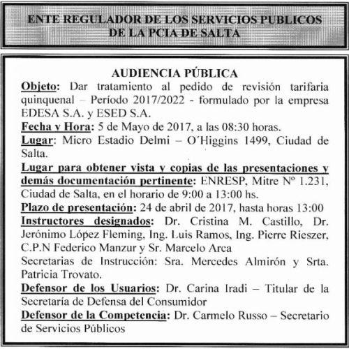 Edictos / Comunicados: AUDIENCIA PÚBLICA ENTE REGULADOR